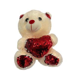 Picture of Creme Teddy Bear Red Heart